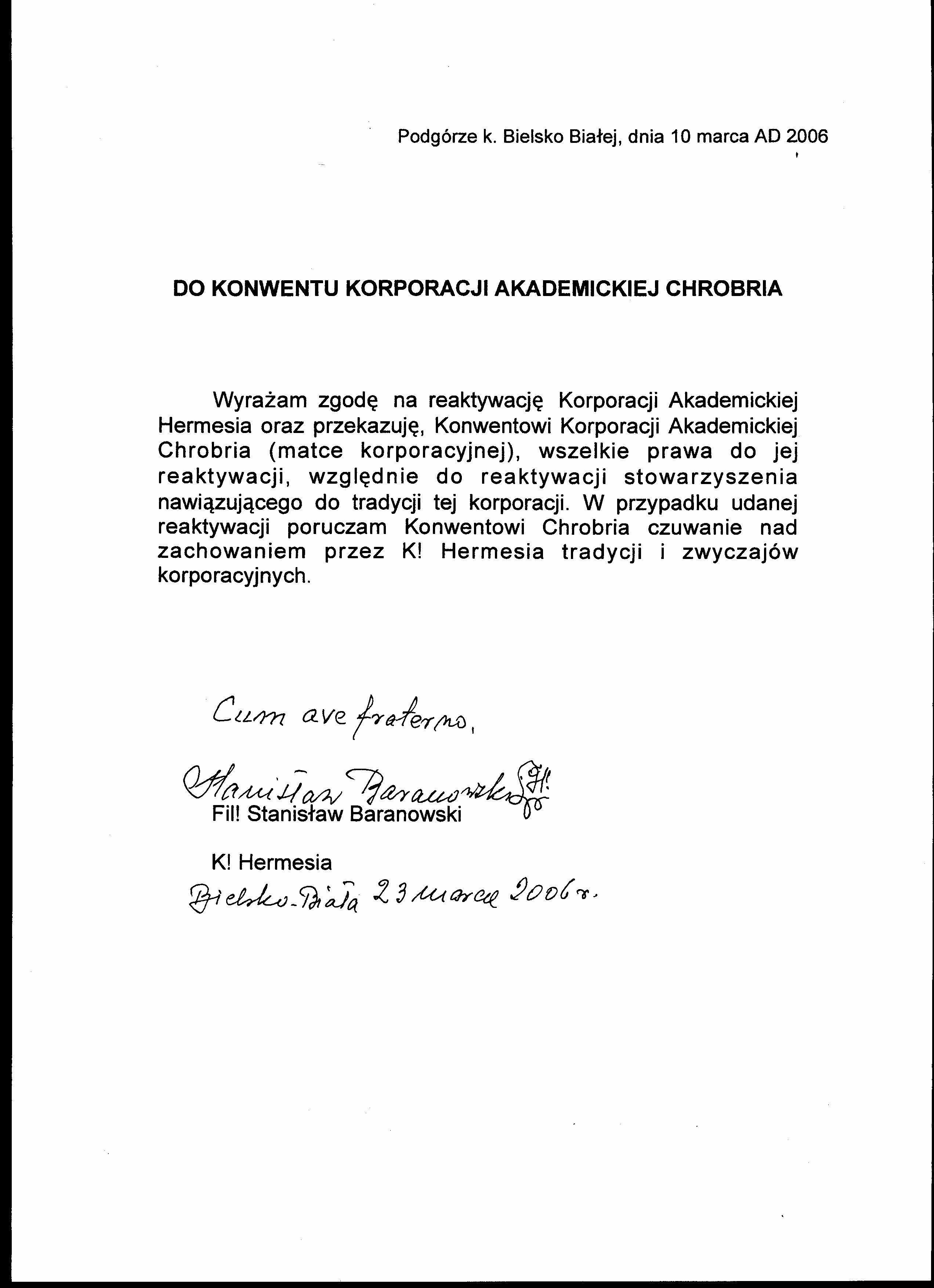 Zgoda na reaktywację podpisana przez Fil! Baranowskiego